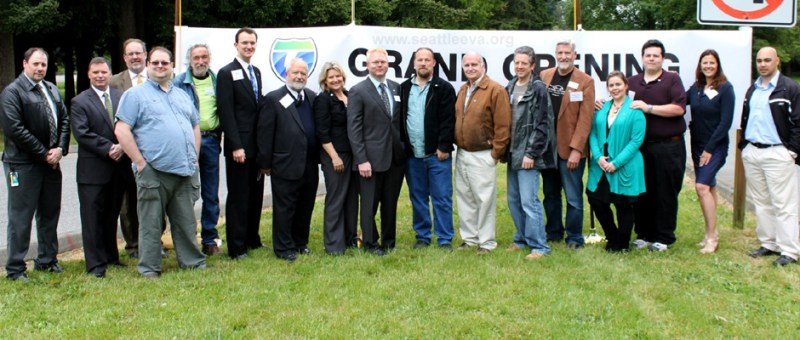 Image of SEVA members at the offial opening of the West Coast Electric Highway