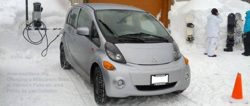 Image of a Mitsubishi i-Miev charging on a snowy day