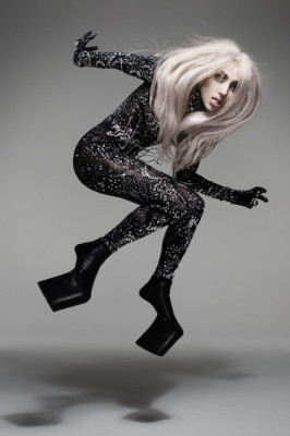 """Lady Gaga in a body suit called """"Protein,"""" part of the """"Skin Series"""" designed by Tamae Hirokawa for the Somarta label. (Photo from Vanity Fair)"""