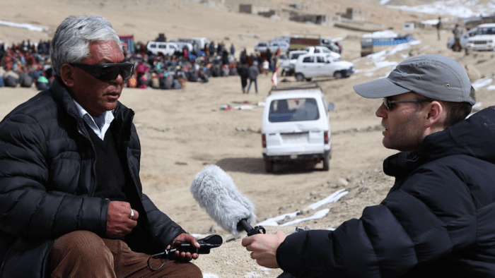 Erik Koto interviews Morup Namgyal for 'The Song Collector' documentary in Ladakh. (Courtesy photo provided by Erik Koto.)