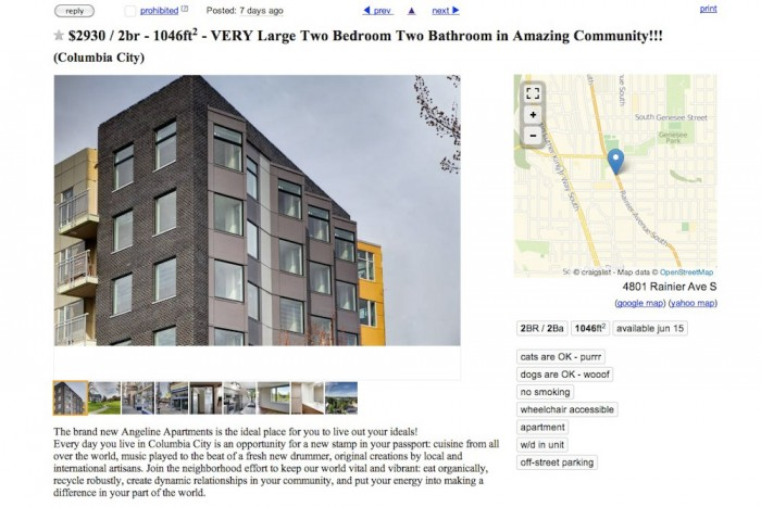 "A Craigslist ad for a 2 bedroom apartment renting for $2930 at the Angeline describes it as ""the ideal place for you to live out your ideals."" Other units are set aside for middle and low income housing."