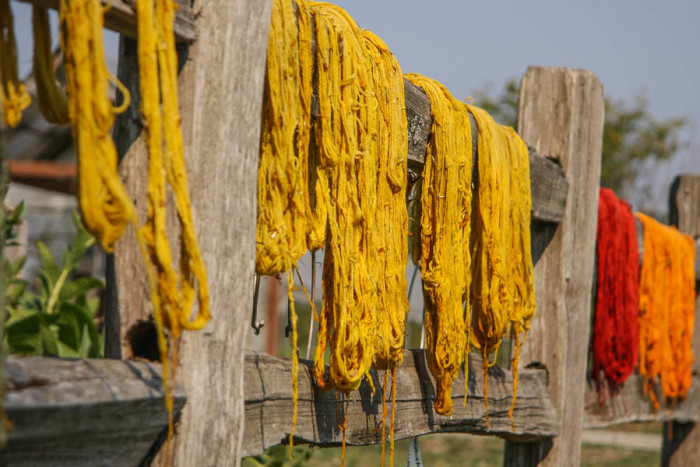 Dyed yarn hanging on a fence at the Jubilee Farm in Snoqualmie, part of a class on using natural plant dyes. (Photo by Carolyn Higgins)