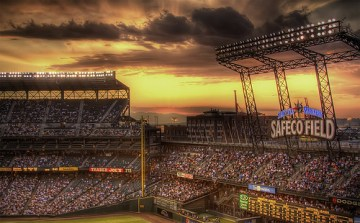 Panoramic view of Safeco Field Sunset