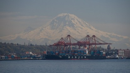 Port of Seattle Shipping Trade with Mt. Rainier in the background