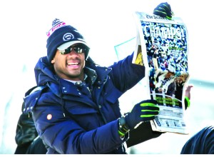 Seattle Seahawks quarterback Russell Wilson at the victory parade
