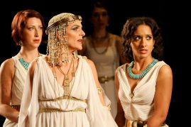 """Terri Weagant as Charmian, Amy Thone as Cleopatra, and Allison Strickland as Iras in Seattle Shakespeare Company's 2012 production of """"Antony and Cleopatra."""" Photo by John Ulman."""