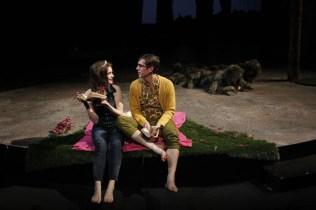 "Brenda Joyner as Bianca, Brian Claudio Smith as Lucentio, John Ulman as Hortensio (in bush disguise) and Samara Lerman as Tranio (in bush disguise) in Seattle Shakespeare Company's 2013 production of ""The Taming of the Shrew"" Photo by Chris Bennion."