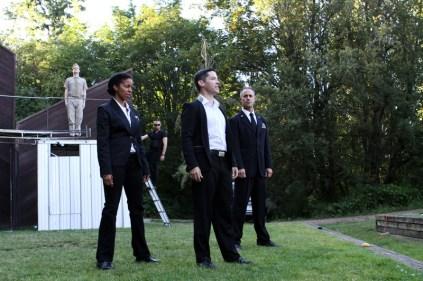 "(L-R) Jon Lutyens, Yesenia Iglesias, Matthew Gilbert, David S. Hogan, and David Quicksall speaking the Chorus's prologue in Seattle Shakespeare Company's 2013 Wooden O production of ""Henry V."""