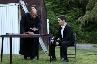 """Jason Sanford as the Archbishop of Canterbury, Terri Weagant as the Bishop of Ely, and David S. Hogan as King Henry in Seattle Shakespeare Company's 2013 Wooden O production of """"Henry V."""""""