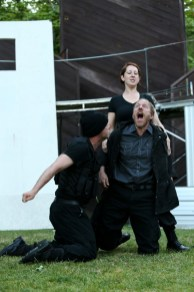 "(L-R) Matthew Gilbert as Fluellen, Terri Weagant as Gower, and Michael Patten as Pistol in Seattle Shakespeare Company's 2013 Wooden O production of ""Henry V."""