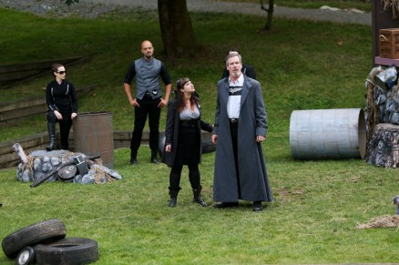 """(L-R) Meg McLynn as Antonio, Brandon J. Simmons as Sebastian, Pilar O'Connell as Adrian, and Jim Gall as King Alonso in Seattle Shakespeare Company's 2013 Wooden O production of """"The Tempest."""""""