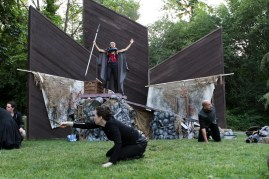 "Amy Thone as Prospero (center) with Meg McLynn as Antonio and Brandon J. Simmons as Sebastian in Seattle Shakespeare Company's 2013 Wooden O production of ""The Tempest."""