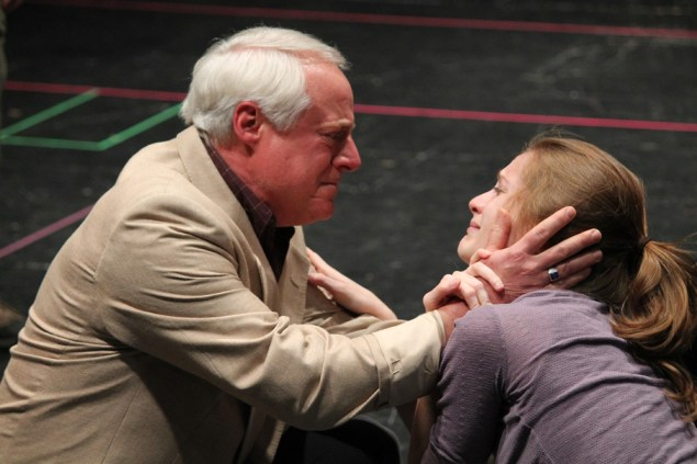 """Peter A. Jacobs as Leonato and Brenda Joyner as Hero in rehearsal for """"Much Ado About Nothing."""""""