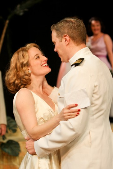 """Jennifer Lee Taylor as Beatrice and Matt Shimkus as Benedick in Seattle Shakespeare Company's 2013 production of """"Much Ado About Nothing."""" Photo by John Ulman."""