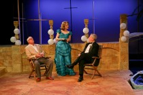 """Peter A. Jacobs as Leonato, Jennifer Lee Taylor as Beatrice, and Bill Higham as Antonio in Seattle Shakespeare Company's 2013 production of """"Much Ado About Nothing."""" Photo by John Ulman."""