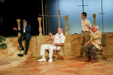 "Justin Huertas as Balthasar, Jim Gall as Don Pedro, Jay Myers as Claudio, and Peter A. Jacobs as Leonato in Seattle Shakespeare Company's 2013 production of ""Much Ado About Nothing."" Photo by John Ulman."