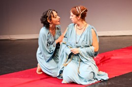 "Allison Strickland as Hermia and Terri Weagant as Helena in Seattle Shakespeare Company's 2011 production of ""A Midsummer Night's Dream."""