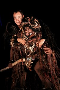 """Chris Ensweiler as Puck and Reginald Andre Jackson as Oberon in Seattle Shakespeare Company's 2011 production of """"A Midsummer Night's Dream."""""""