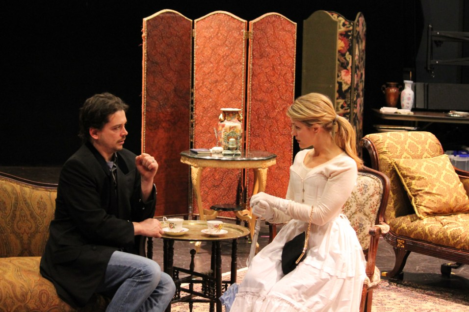 Connor Toms as Jack and Emily Grogan as Gwendolen.