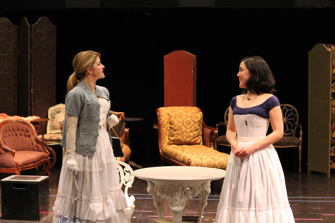 Emily Grogan as Gwendolen and Hana Lass as Cecily.