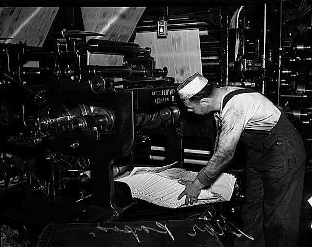 Seattle Star press worker, 1937. Photo courtesy of MOHAI