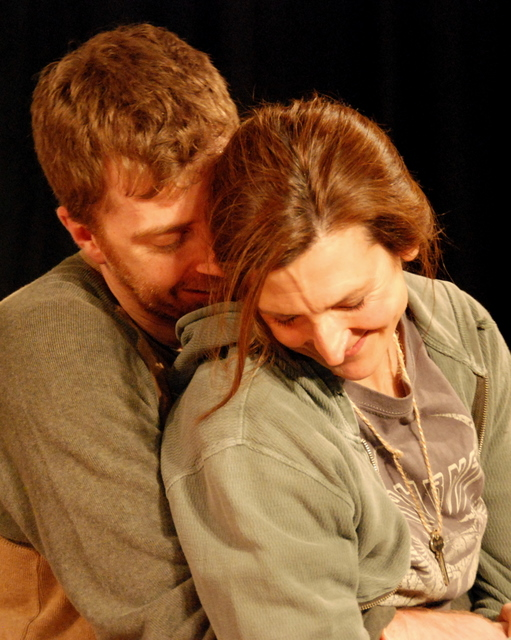 Ryan Sanders and Lisa Every in BASH Theater and Radial Theater Project's production of Wayne Rawley's BEATING UP BACHMAN at the West of Lenin. Image by Armen Stein.
