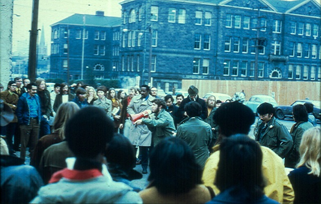 """SCCC's Oriental Student Union and their """"posse on Broadway,"""" February 9, 1971"""