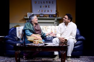Amrita Seera and Abhijeet Rane share a comic moment in The Banerjees Are Coming. Photo by Joe Iano.
