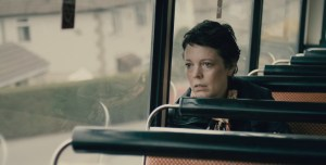 Olivia Colman in a thoughtful moment from Tyrannosaur.