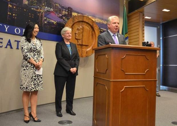 Ed Murray names Kate Joncas (center) his new deputy mayor of operations, June 11, 2014. Photo courtesy Seattle Mayor's Office