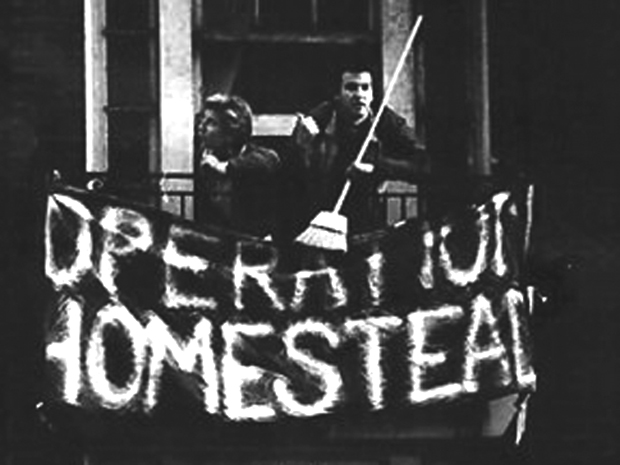 Operation Homestead activists occupying the Pacific Hotel, downtown Seattle, September 1992. Photo credit: Dana Schuerholz