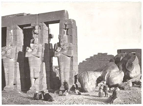 """Osiridae pillars and fallen colossus."" Photo by Francis Frith."