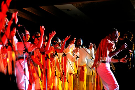 """Eusebe Jaojoby, considered the king of salegy, performs with the """"TANA GOSPEL CHOIR"""" in 2009. Photo by carlos.Licensed CC-BY-NC-ND."""
