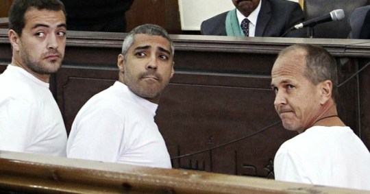 Baher Mohamed, Mohammed Fahmy and Peter Greste in court in Cairo in March.Photograph: Heba El-kholy, El Shorouk/AP.