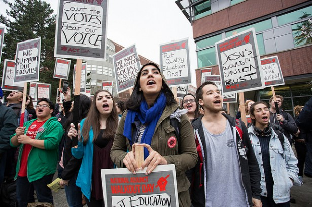 Seattle University faculty, students, staff stage one of the largest walkouts in thenation as part of National Adjunct Walkout Day Feb. 25.Photo credit: SEIU 925. Licensed CC-BY-SA.