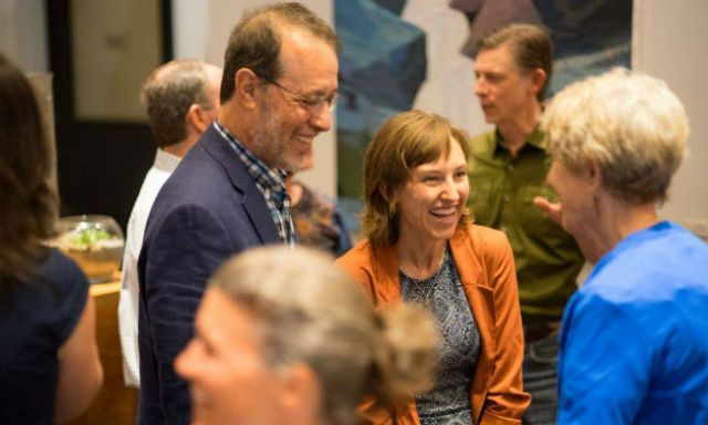 Senator Michael Dembrow and Camila Thorndike have a conversation with Oregon Climate supporters at Cup and Bar in Portland, Oregon, in September 2015. Photo by Garrett Downen.