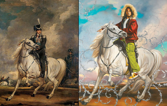 """""""Colonel Platoff on His Charger."""" Left, by James Ward. Right, by Kehinde Wiley."""