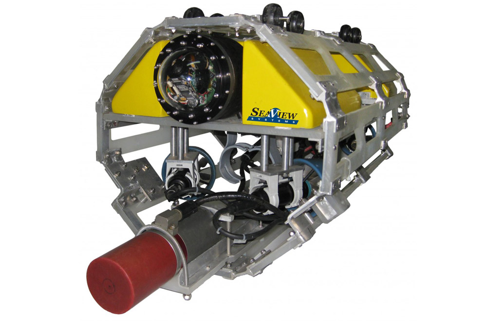 The SeaView Systems long distance remote operated vehicle (LDROV) underwater robot is shown.