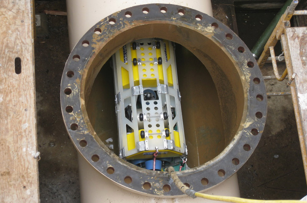 The SeaView Systems long distance remote operated vehicle (LDROV) underwater robot is shown being deployed in a pipe.