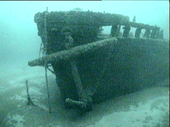 The bow and anchor of the Hattie Wells shipwreck is shown.