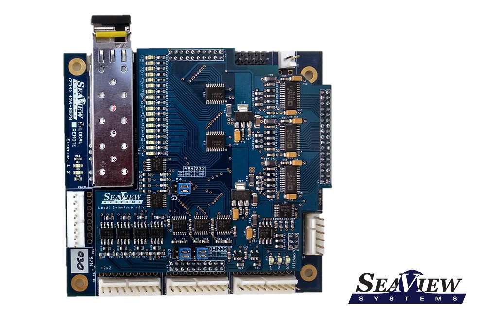The SeaView Systems SVS-109 Local Fiber Optic Multiplexer (mux board) is shown with Molex connectors.