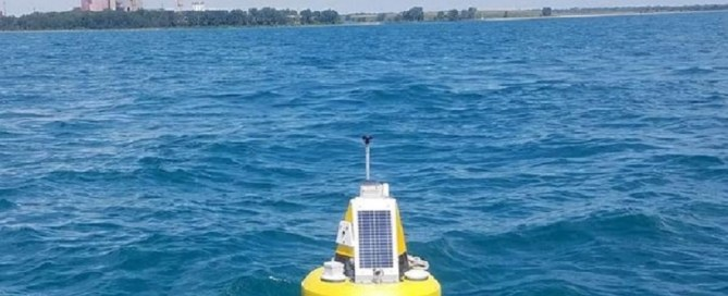 A data buoy is shown in Lake Michigan near Chicago, Illinois.