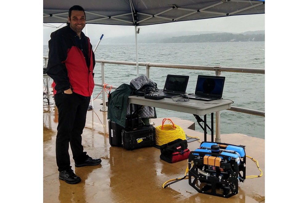 Ed Celkis is shown with SeaView Systems' Blue Robotics RlueROV2 ROV at Surge Tech, TC for press release.