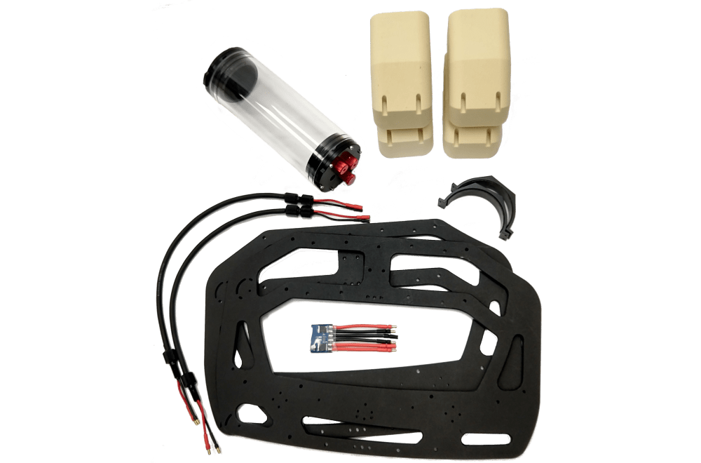 The SeaView Systems Power Upgrade kit for Blue Robotics BlueROV2 underwater robotic remote operated vehicle (ROV) is shown, allowing the use of two batteries.
