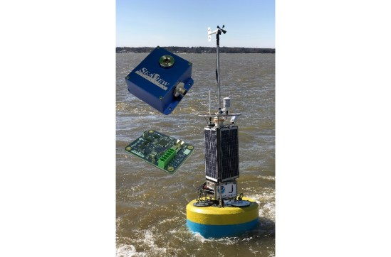 The SeaView Systems SVS-603HR wave sensor enclosure box, SVS-603 circuit board, and Fondriest Great Lakes buoy equipped with the sensor are shown.