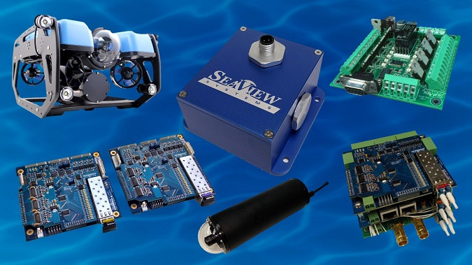 SeaView Systems' subsea electronics products, including the Blue Robotics BlueROV2, SVS-603HR wave sensor, SVS, 601 system power controller, SVS-509 Omni-Data stack, $K UHD CinemaCam, and SVS-109 fiber optic multiplexer (mux) set are shown.