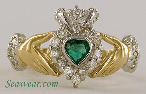 Emerald Heart Diamond Claddagh Ring