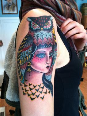 owl girl tattoo, girl tattoo, minnesota tattoos, mpls tattoo, sea wolf tattoo, traditional tattoos