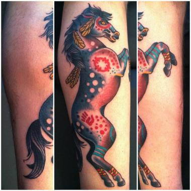 native war pony tattoo, horse tattoo, minneapolis tattoo shops, minnesota tattoo shops, minnesota tattoos, sea wolf tattoo company, traditional tattoos
