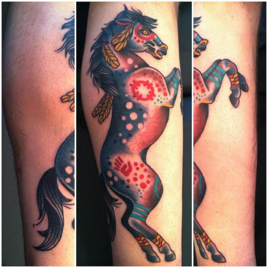 native war pony tattoo traditional tattoos minneapolis mn. Black Bedroom Furniture Sets. Home Design Ideas